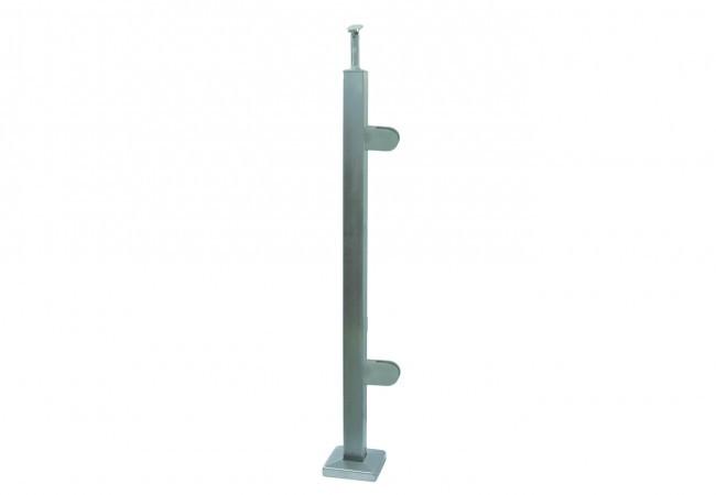 (44) Słupek podłogowy lewy z 2 uchwytami do balustrady szklanej h=96, profil 40x40 mm