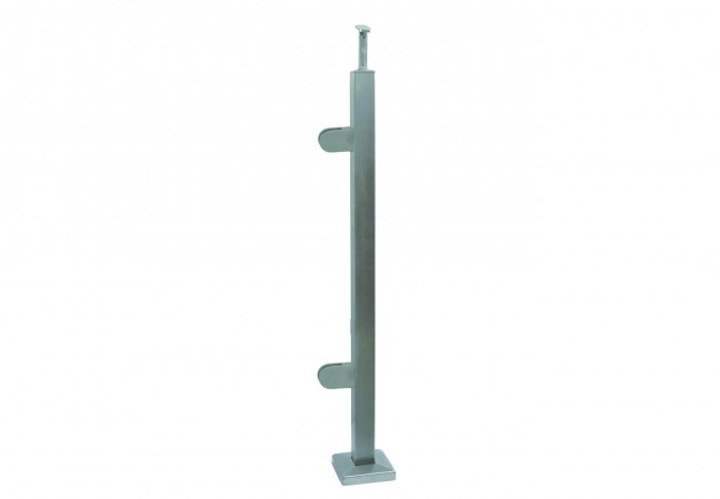 (45) Słupek podłogowy prawy z 2 uchwytami do balustrady szklanej,h=96cm, profil 40x40 mm