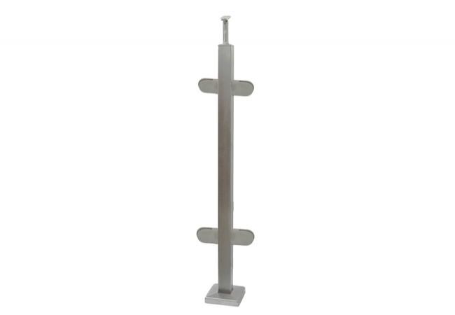 (46) Słupek podłogowy środkowy z 4 uchwytami do balustrady szklanej,h=96cm, profil 40x40 mm