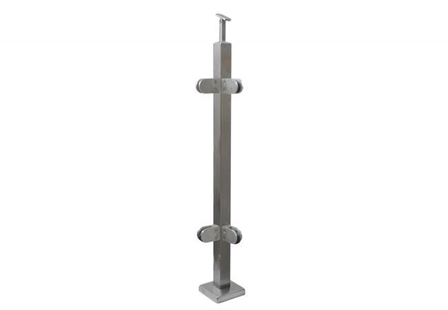 (47) Słupek kątowy 90 stopni z 4 uchwytami do balustrady szklanej,h=96,profil 40-x40 mm