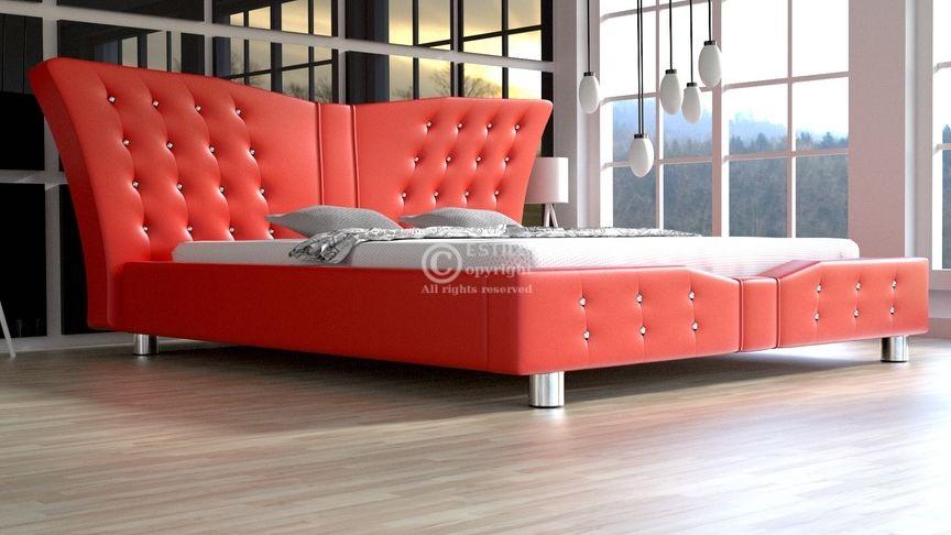 Łóżko do sypialni Angel z kryształami 160x200 - tkanina