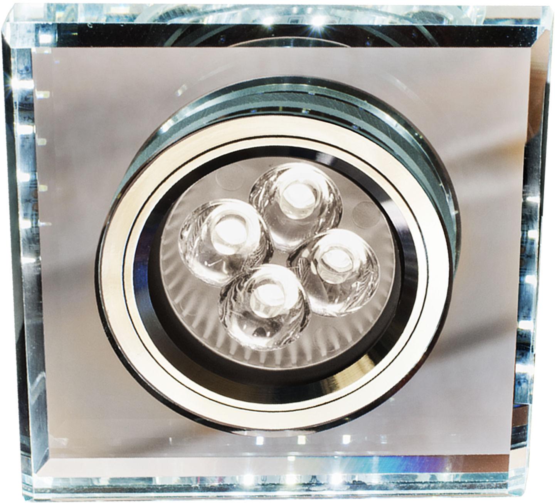 Candellux SS-22 CH/TR+WH oprawa do wbudowania stropowa GU10 50W+LED SMD 2,1W biały 230V chrom oczko sufitowe kwadratowa szkło transparentne