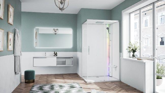 Novellini Glax 1 2.0 kabina z sauna parową 120x80 prawa srebrna G212P120DM5-1BB