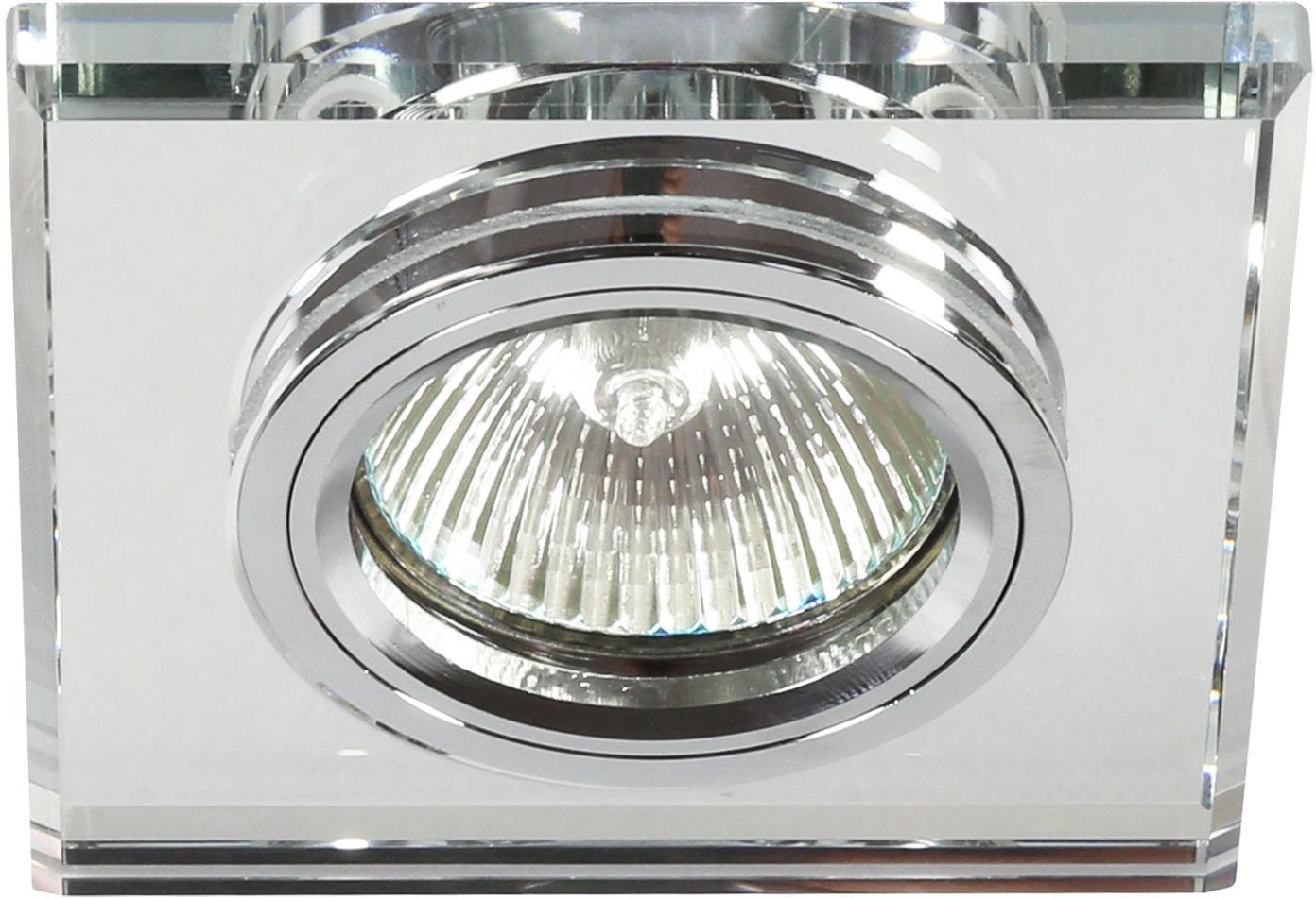 Candellux SS-13 CH/WH 2230453 oprawa do wbudowania chrom MR16 oczko sufitowe kwadratowa szkło przeźroczyste min. 6,4cm