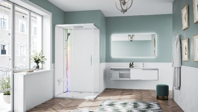 Novellini Glax 1 2.0 kabina z sauna parową 120x90 lewa srebrna G212P290SM5-1BB