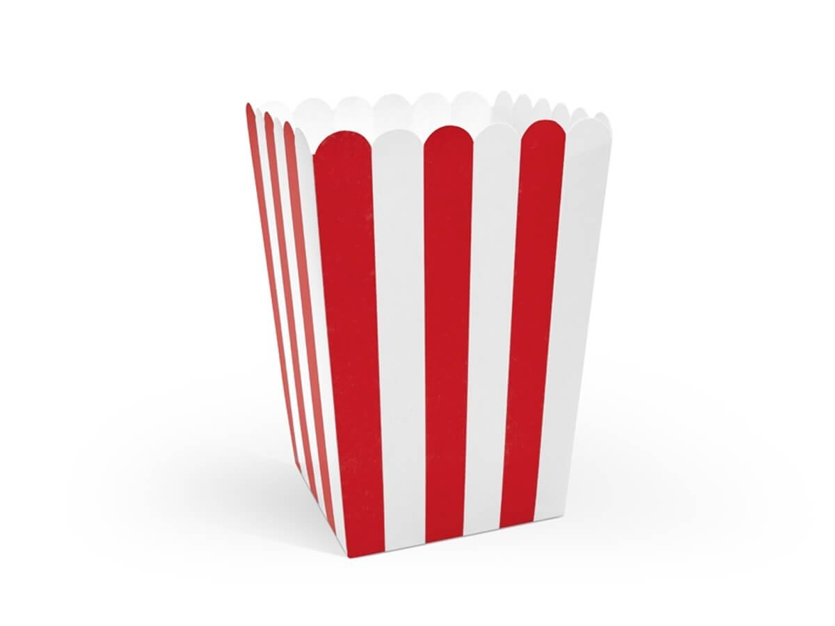 Pudełka na popcorn w biało-czerwone paski Piraci - 6 szt.