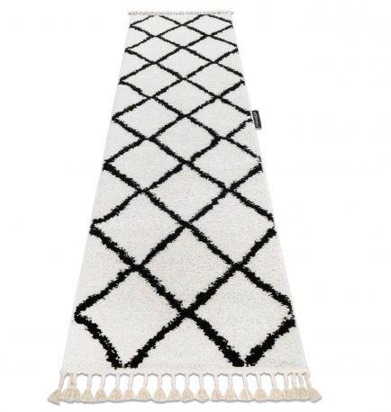 Dywan, Chodnik BERBER CROSS biały - do kuchni, przedpokoju, na korytarz 60x200 cm