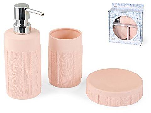 H & H Pengo h1310378 a zestaw łazienkowy Fiesole, 3 sztuki, ceramika, różowa, 22 x 8 x 25 cm, 3 sztuki