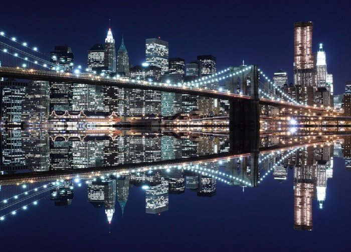 Fototapeta na ścianę - New York (Brooklyn Bridge night) - 254x183 cm