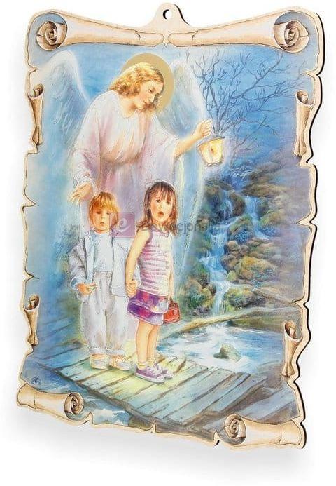 Obrazek pastelowy - Anioł Stróż z lampionem