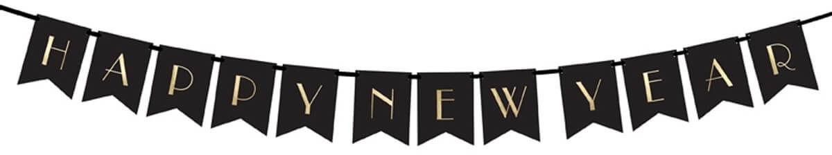Baner Happy New Year czarny - 170 cm - 1 szt.