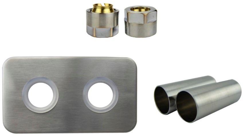 Zestaw maskujący rozety + tuleje + złączki Cu/Pex/GZ1/2 x GW3/4 - nikiel szlifowany instalacja miedziana -CU rozeta prostokątna
