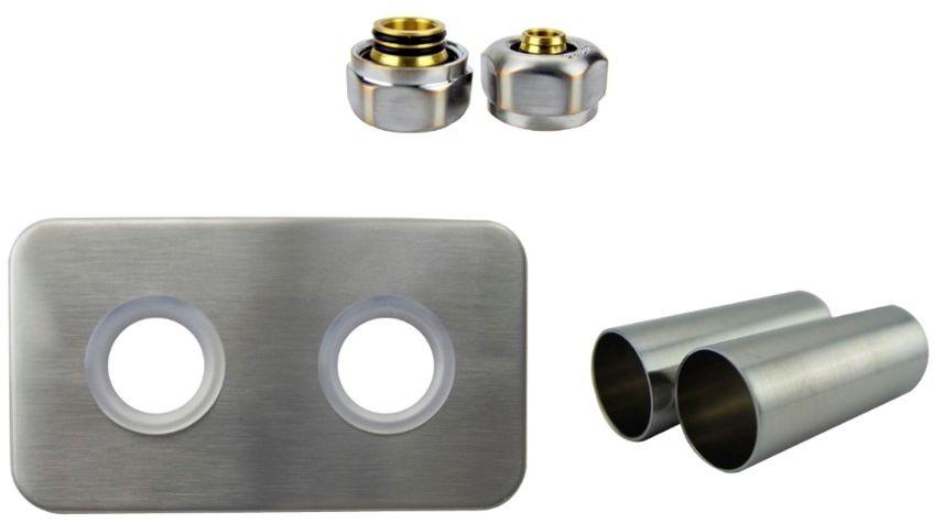 Zestaw maskujący rozety + tuleje + złączki Cu/Pex/GZ1/2 x GW3/4 - nikiel szlifowany instalacja alu-pex - PEX rozeta prostokątna