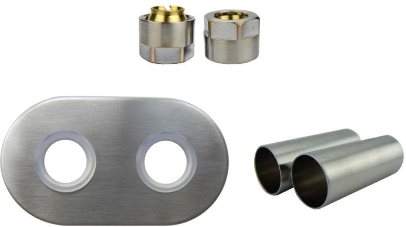 Zestaw maskujący rozety + tuleje + złączki Cu/Pex/GZ1/2 x GW3/4 - nikiel szlifowany instalacja miedziana -CU rozeta owalna