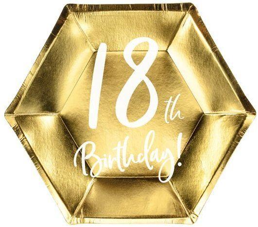 Talerzyki na 18 urodziny 18th Birthday złote 20cm 6 sztuk TPP73-18-019M