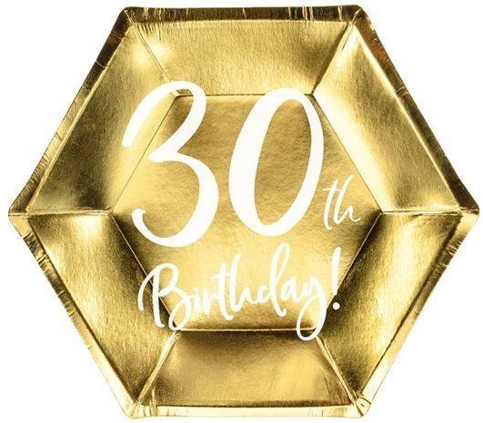 Talerzyki na 30 urodziny 30th Birthday złote 20cm 6 sztuk TPP73-30-019M