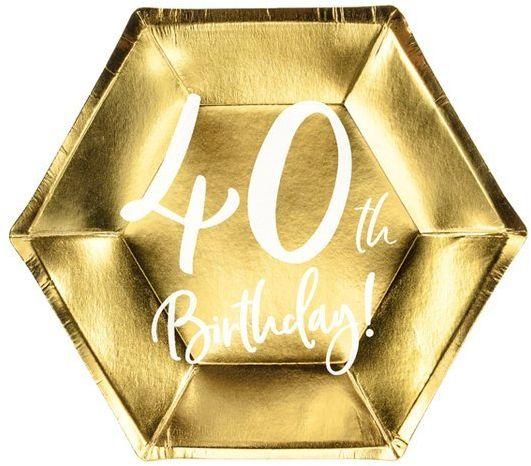 Talerzyki na 40 urodziny 40th Birthday złote 20cm 6 sztuk TPP73-40-019M