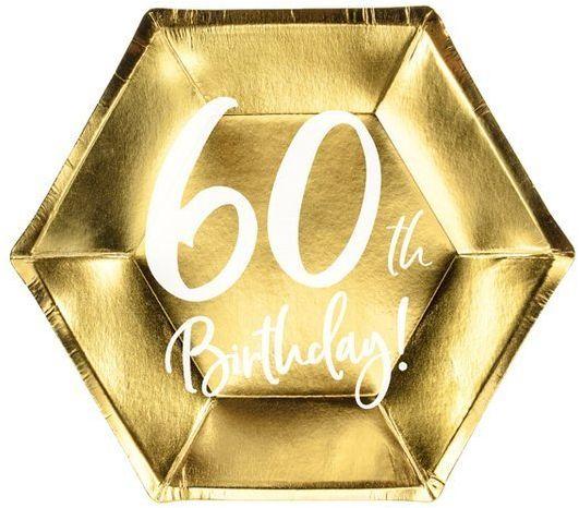 Talerzyki na 60 urodziny 60th Birthday złote 20cm 6 sztuk TPP73-60-019M