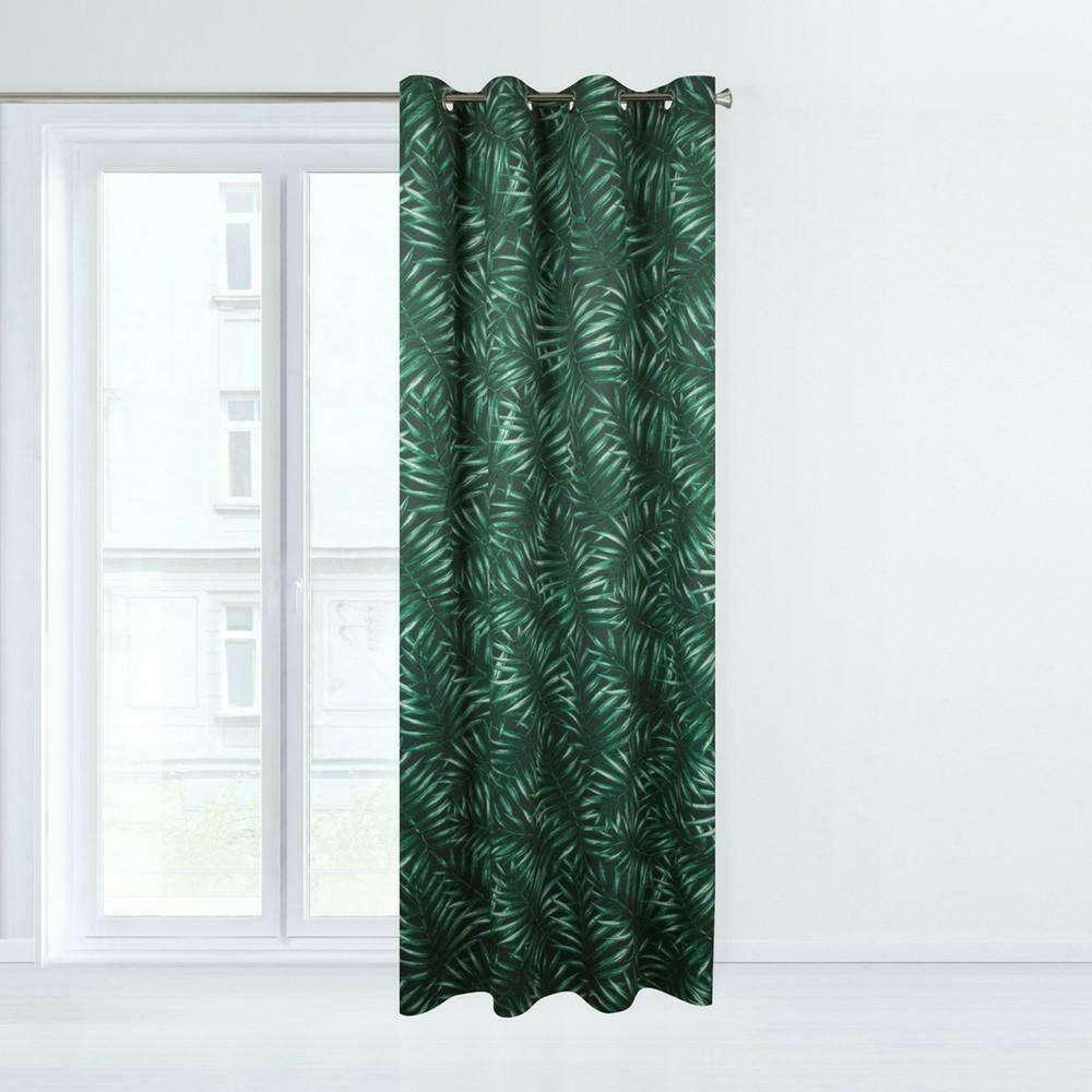 Zasłona gotowa na przelotkach 140x250 Hilary liście palmy grafitowa zielona