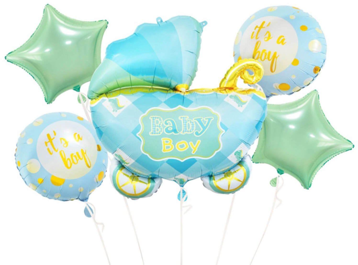 Bukiet balonów foliowych Wózek Baby boy - 5 szt.