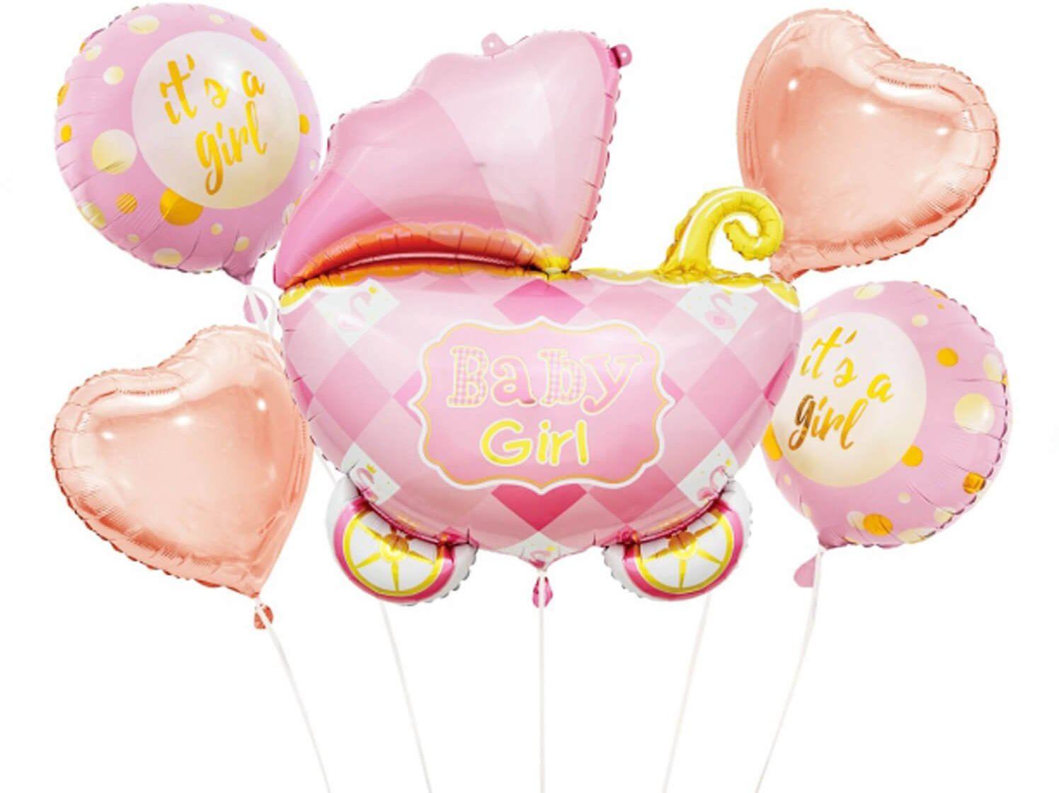 Bukiet balonów foliowych Wózek Baby girl - 5 szt.