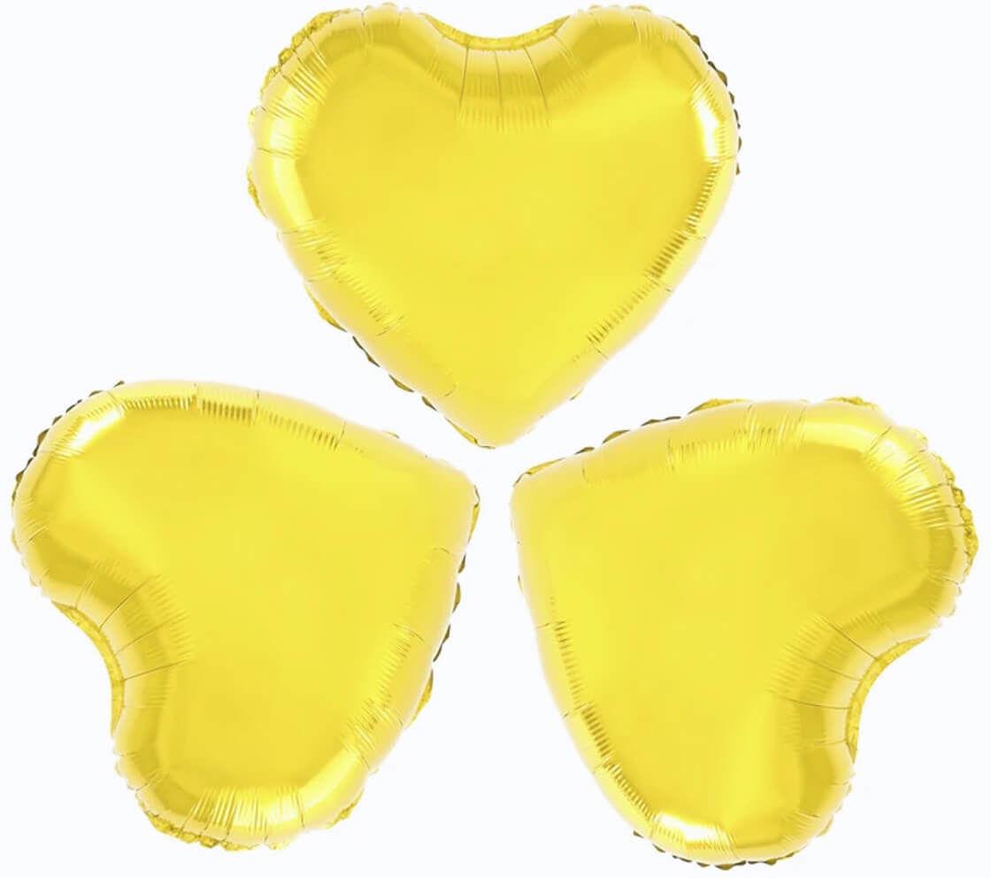 Balony foliowe Serca złote - 23 cm - 3 szt.