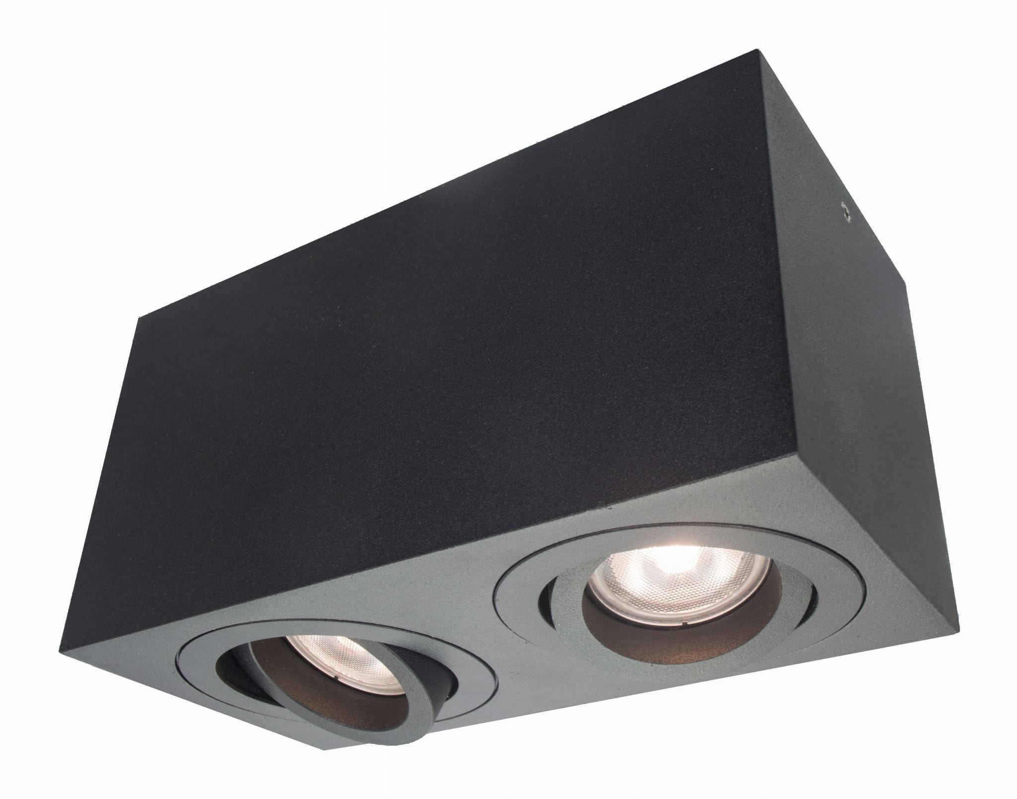 Light Prestige Lyon 2 LP-5881/2SM BK oprawa stropowa natynkowa podwójna czarna metal 2x50W GU10 18cm