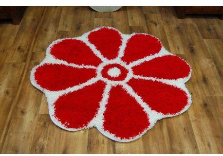 Dywan SHAGGY GUSTO Kwiatek C300 czerwony koło 100 cm
