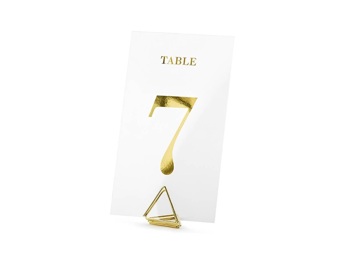 Transparentne numery na stół - złote - 20 szt.