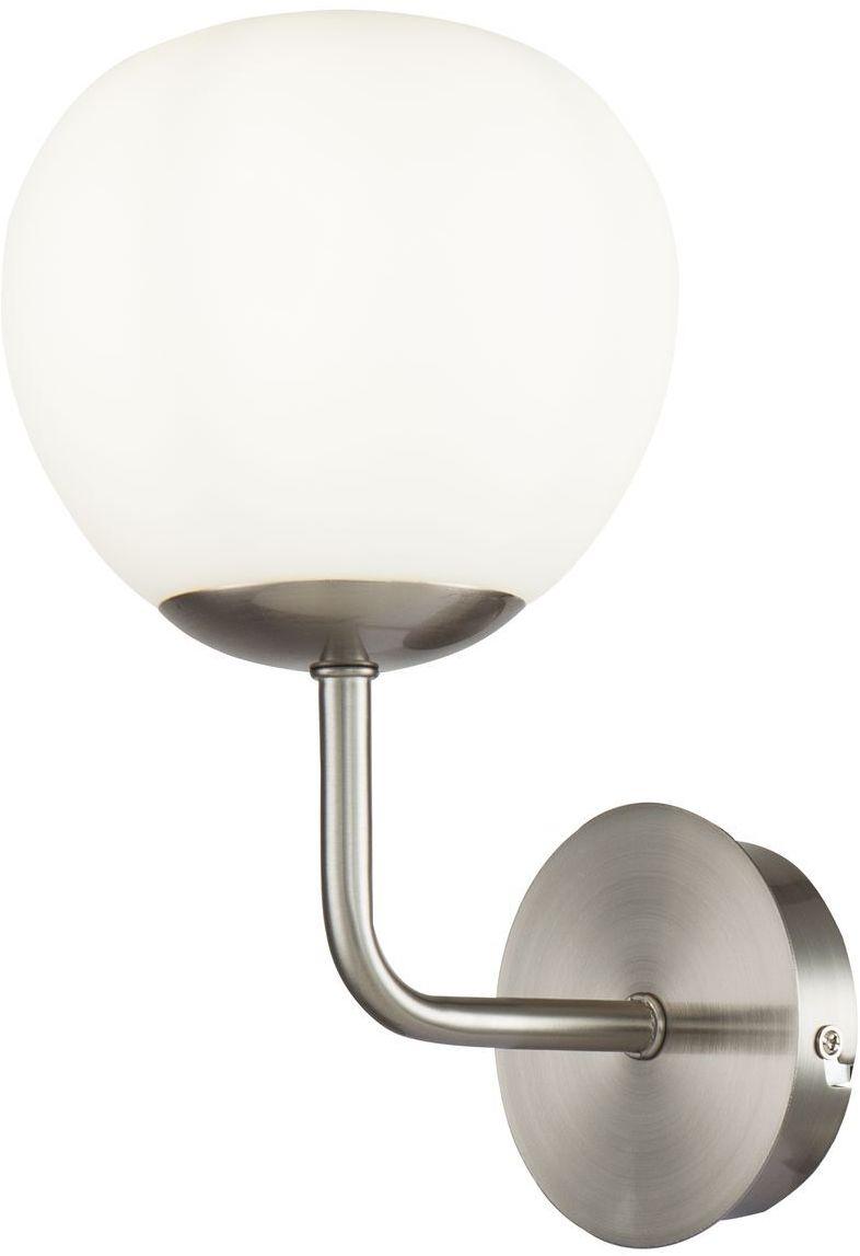Maytoni Erich MOD221-WL-01-N kinkiet lampa ścienna metalowa rama nikiel klosz z matowego białego szkła 1xE14 40W 15 cm