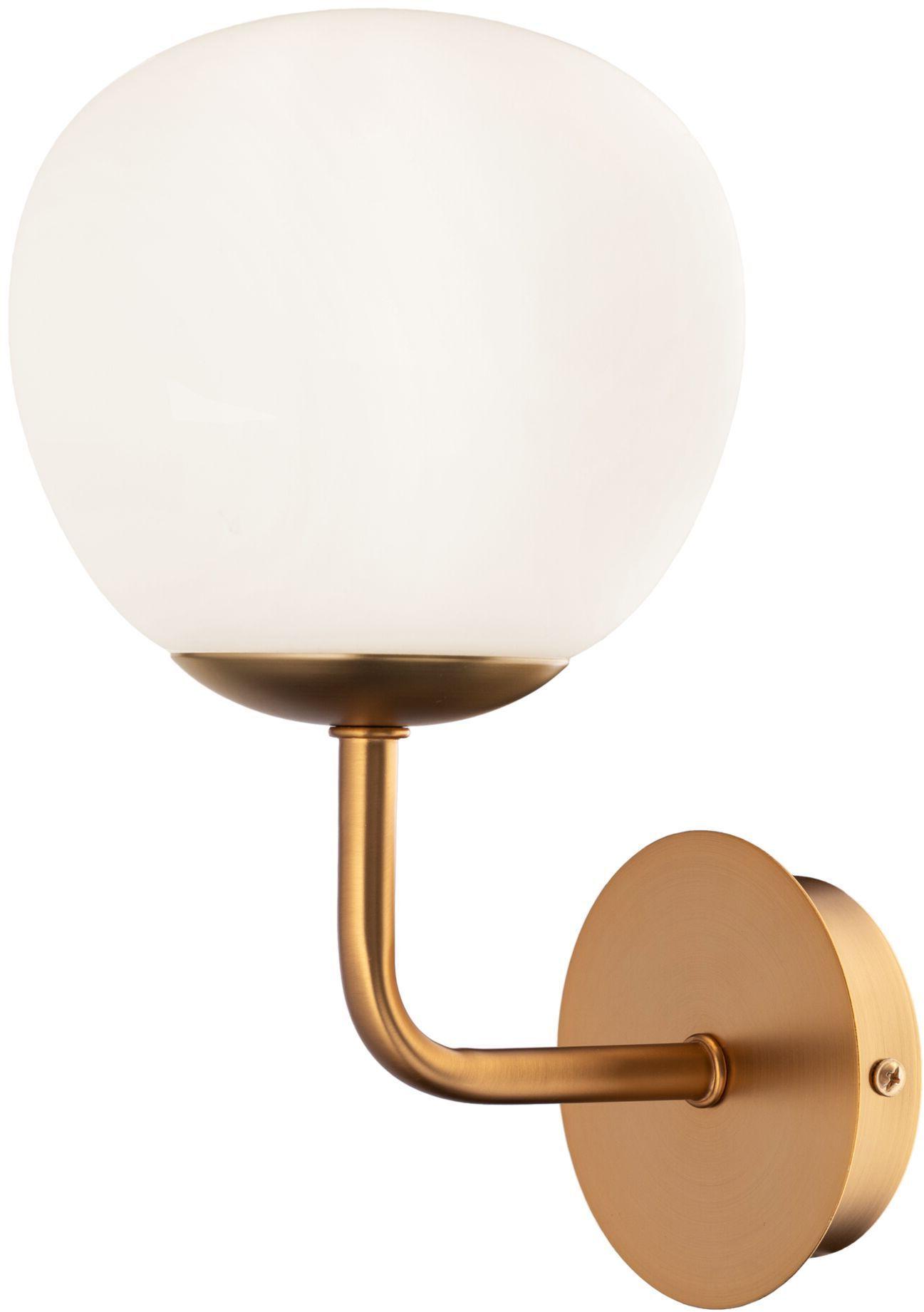 Maytoni Erich MOD221-WL-01-G kinkiet lampa ścienna metalowa rama mosiądz klosz matowe szkło 1xE14 40W 15 cm